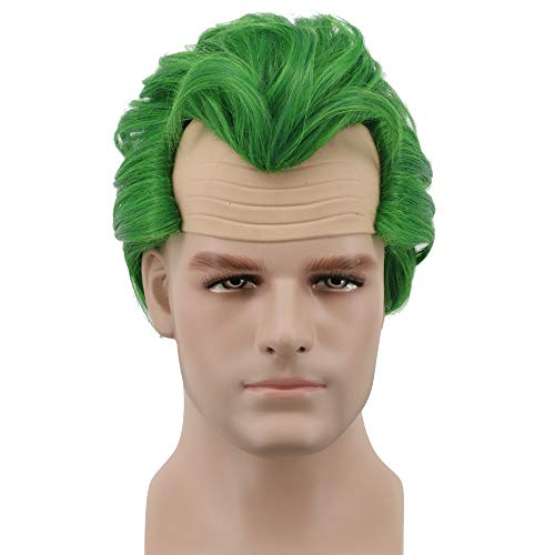Yuehong Short Green Mens Wig Costume Wigs Fluffy Bald Head Wig Synthetic Halloween Cosplay Wig -