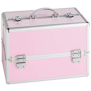 "Beautify Large Pink Makeup Cosmetic Organizer Train Case 14"" Professional Aluminum Storage Box with Lock"