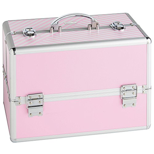 Beautify Large Pink Makeup Cosmetic Organizer Train Case 14