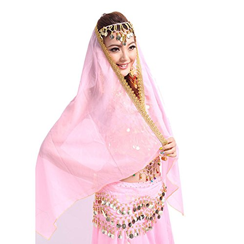 ETOSELL Belly Dance Chiffon Big Veil Shawl Skirt Scarf Gypsy Gold Trim Headscarf (Gypsy Head Scarf)