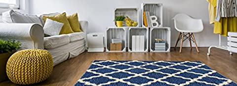 Soft Shag Area Rug 7x10 Moroccan Trellis Blue Ivory Shaggy Rug - Contemporary Area Rugs for Living Room Bedroom Kitchen Decorative Modern Shaggy Rugs