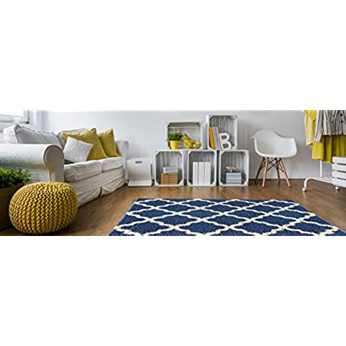 Soft Shag Area Rug 5x7 Moroccan Trellis Blue Ivory Shaggy Rug    Contemporary Area Rugs For Living Room Bedroom Kitchen Decorative Modern  Shaggy Rugs