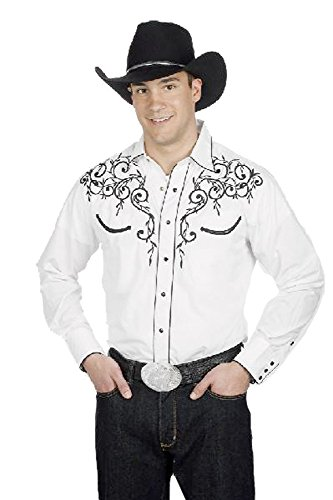 Shirt Blend Western Men's Leaf Embroidery Retro White Cotton T46Twqzp