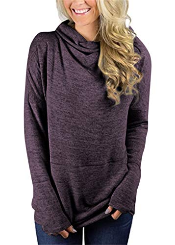 (Unidear Womens Cowl Neck Blouses Tunic Tops Burgundy Plaid Sweatshirts Contrast Wrap Hooded Pullovers Purple S)