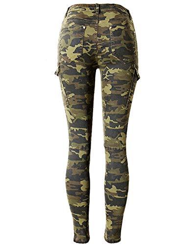 Pantalons Pantalon lastique Leggings Poche Femmes QitunC Camoufler Jeans Slim Multi Crayon Camo Skinny 0UCwZExaq