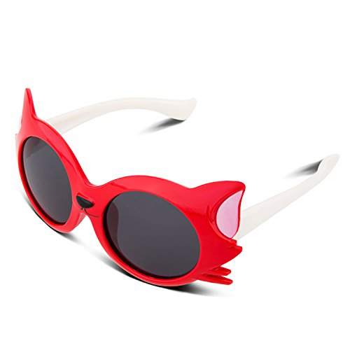 [RIVBOS Rubber Bendable Cat Cartoon Style Polarized Sunglasses for Children Kids Age 2-10 Yr (Red)] (Prescription Novelty Contact Lenses)