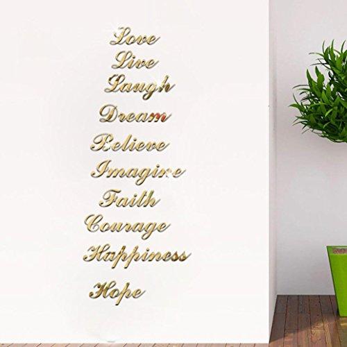 Gocheaper 10PCS Decor Wall Stickers,Home Art Stair Wall Decals Acrylic Silver Mirror -