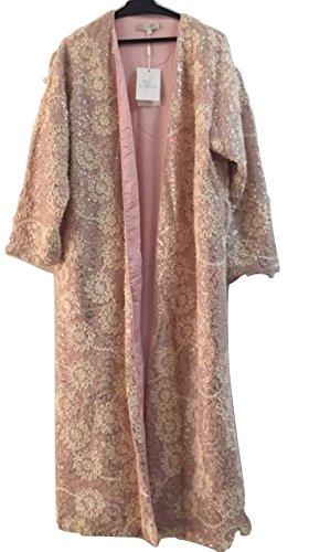 (Luxury Embroidered Floral Sequin Pink Robe Sleepwear Nightwear Nightgown (Medium))