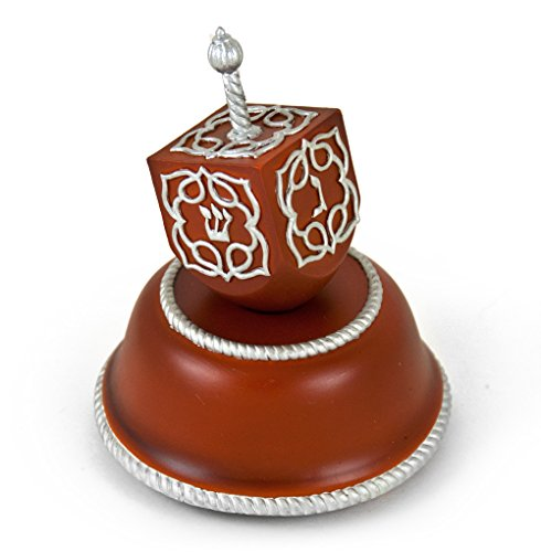 Festive Musical Dreidel with Silver Accents on Wooden Base - Over 400 Song Choices - Where Have All The Flowers Gone