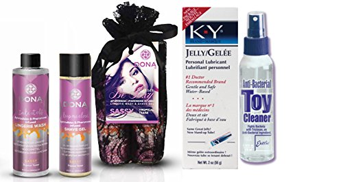 Bundle Package Of DONA Be Sexy Gift Set - Sassy And Anti-bacterial Toy Cleaner 4.3oz. And a K-Y Jelly 2oz. Tube by United Consortium