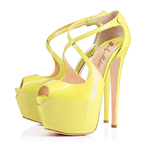 Cross Party Open Heel Gelb Pumps Buckle Toe Strap Plateau Stiletto Schuhe High Damen Schluepfen Knoechel Tdz47wz