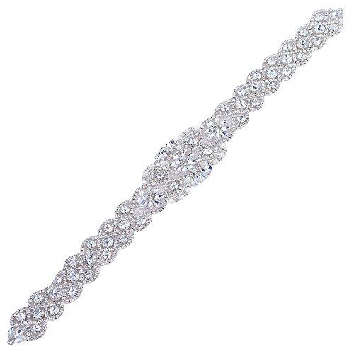 FENGZHITAO Wedding Bridal Sash Belt Rhinestone Applique Decorate Wedding Evening Dress Silver1