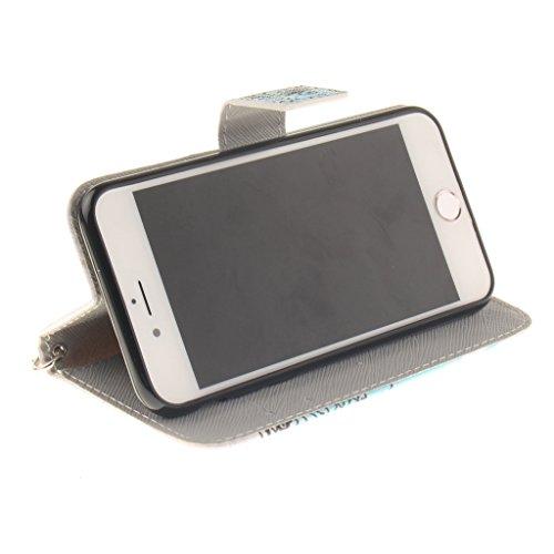 Bleu Création conception portefeuille magnétique supporter PU cuir de flip protection housse coque étui pour Apple iPhone 7