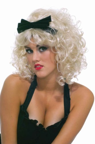 Forum Novelties Women's 80's Pop Star Wig with Bow, Blonde, One (Pop Star Halloween Costumes For Adults)
