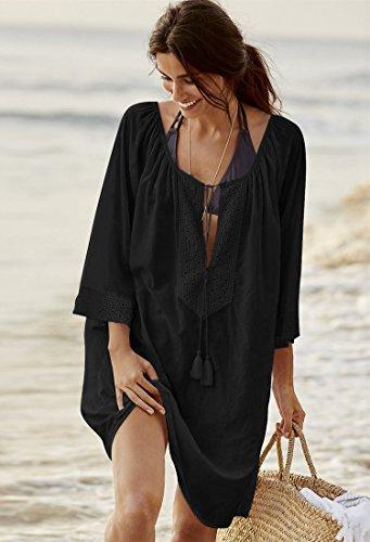 da spiaggia era una allentato nuovo bianco in codice di 69 Black bagno dimensione costume buco cover sun rivestimento sexy cotone resort bikini grande blu ShouYu camicia mantello 69 up di Wa74vcv