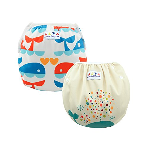 ALVABABY Swim Diapers Large Size 2pcs Pack One Size Reuseable &Adjustable 0-36 mo.Size 18-55lbs ZSWD02-04