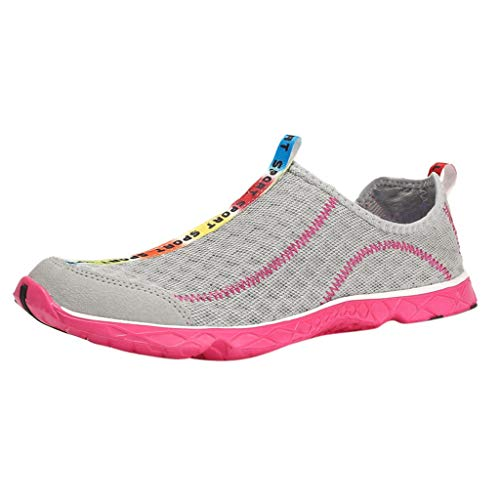 (WFeieig Women Casual Sports Shoes Outdoor Mesh Summer Couple Shoes Mens Running Shoes Breathable Light Training Shoe Pink)