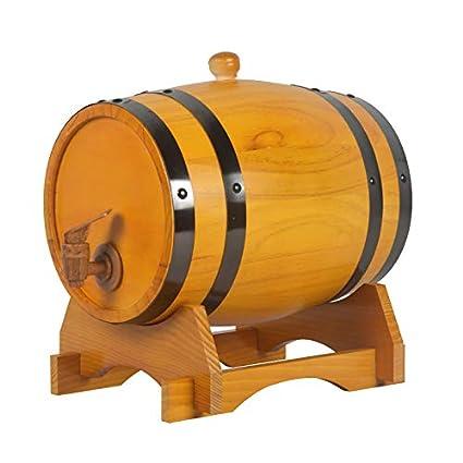 AMCER Barril de Madera de Roble, Personaliza tu Logo Exclusivo para almacenar Vino, Whisky