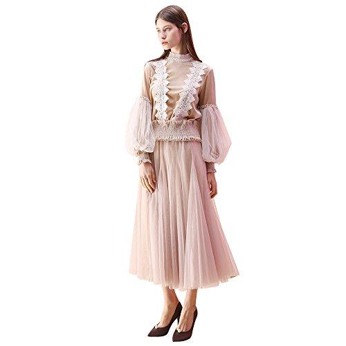 Chicwish Women's Cream Layered Mesh Ballet Prom Party Tulle Tutu A-Line Maxi Skirt, Cream, Small/Medium
