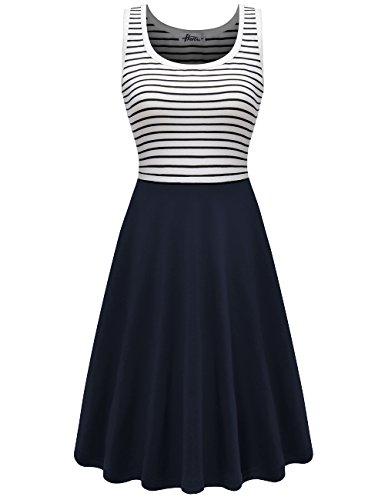 Herou Women Striped Sleeveless Casual Soft Cotton Tank - Soft Dress