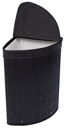 BIRDROCK HOME Corner Laundry Hamper with Lid and Cloth Liner | Bamboo | Black | Easily Transport Laundry Basket | Collapsible Hamper | String Handles