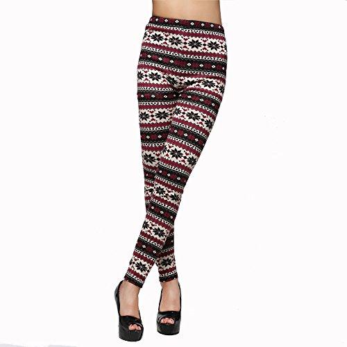 Flake Blend - Diamondo Stylish Cotton Blend Snowflakes Fawn Leggings Long Pants Tights Ninth Pants (A)