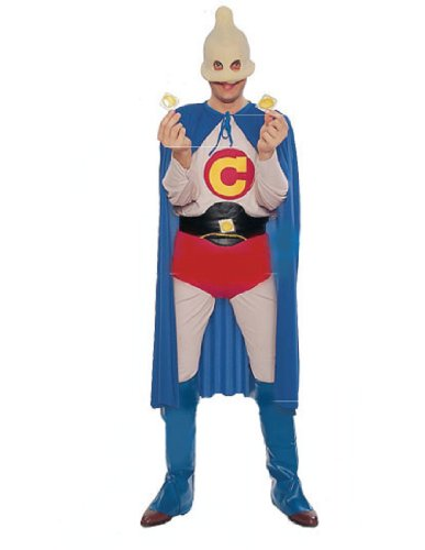 [Forum Captain Condom Humorous Superhero Costume, Multi, One Size] (Mens Trojan Costume)