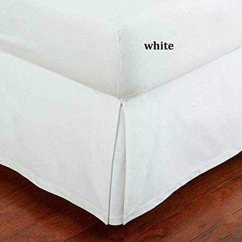 "SRP Bedding Real 210 Thread Count Split Corner Bed Skirt/Dust Ruffle Queen Size Solid White 16"" inches Drop Egyptian Cotton Quality Wrinkle & Fade Resistant"