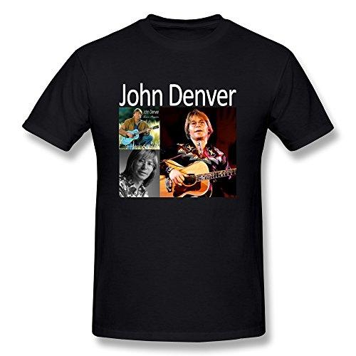 TEN-CI Men's Rural Folk Singer John-Denver Music Concert Cotton T Shirts Black XXL