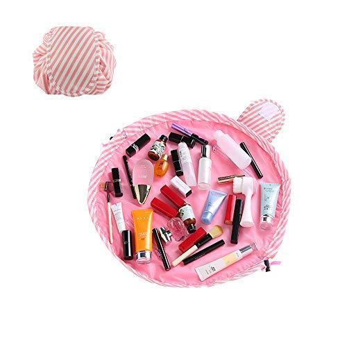 SANBLOGAN Drawstring Makeup Bag, Lay Flat Quick Makeup Bag Lazy Travel Cosmetic Bag Waterproof Cute Makeup Bag That Opens Flat Toiletry Bag for Women Men Girls, Pink Strip
