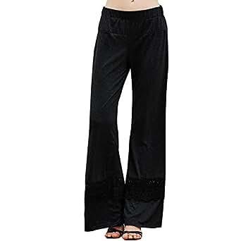 Women's New Fashion Casual Loose Lace Stiching Pants (Medium, Black)