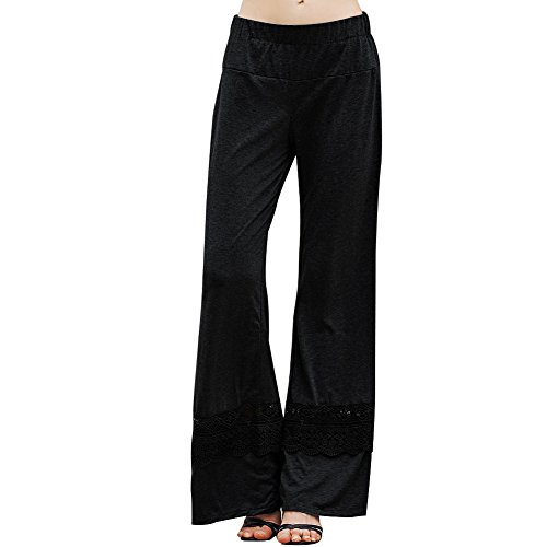 AATOP Women's Flare Yoga Pants Hollow Lace Patchwork High Waist Wide Leg Long Palazzo Pants US Stock