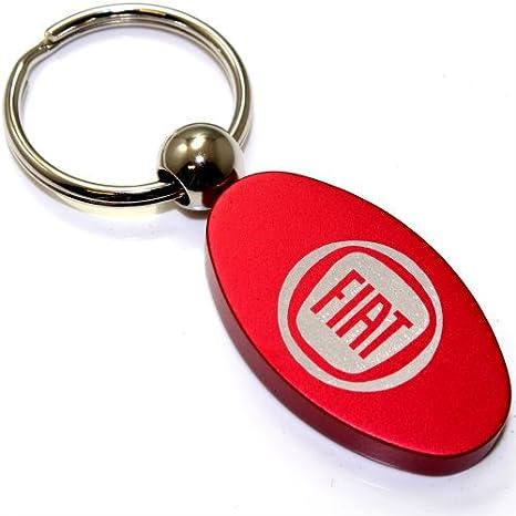 Rojo Aluminio Metal Oval Fiat logo clave cadena llavero ...
