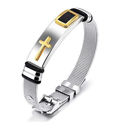 (Reizteko Jewelry 3-Tone Mens Stainless Steel Twisted Cable Gold Plated Cross Bangle Bracelet (Gold Cross))