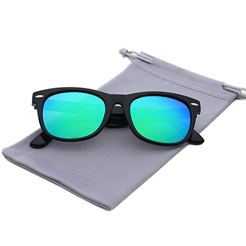 Sunglasses Kids (YAMAZI Kids Polarized Sunglasses Sports Fashion For Boys And Girls Mirrored Lens (Black | Green lens, Gray))