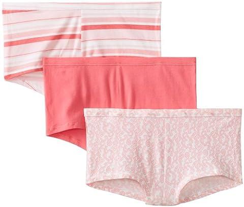 Hanes Women's 3 Pack Comfortsoft Cotton Stretch Boy Brief, Assorted,7