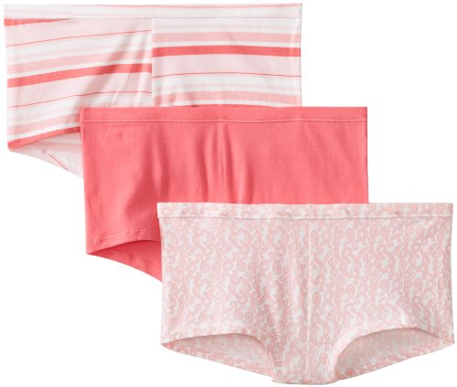 Hanes Women's 3 Pack Comfortsoft Cotton Stretch Boy Brief, Assorted,6 (Hanes Cotton Stretch Bikini Lace)