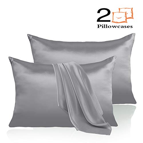Leccod 2 Pack Silky Satin Pillowcase for Hair and Skin Cool Super Soft and Luxury Pillow Cases Covers with Envelope Closure (Silver Gray, Queen: 20x30)