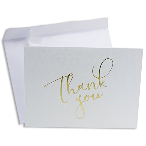 ZEFFFKA Thank You Note Cards Set of 20 Gold Foil on White Paper Including Self Seal Envelopes ()