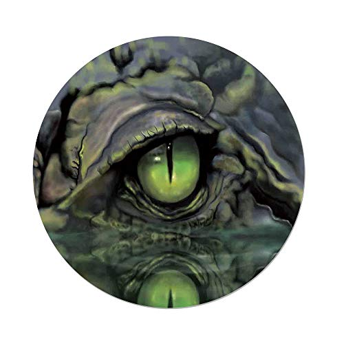 iPrint Polyester Round Tablecloth,Reptile,Wild Scary Sketch Eye Face Image Crocodile in Water at Night Hunter Illustration,Green Navy,Dining Room Kitchen Picnic Table Cloth Cover Outdoor Indoor