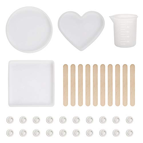(3 Pcs Large Resin Casting Molds DIY Coaster Transparent Flexible Silicone Molds, Include Round, Heart Shaped Coaster Mold 100 ml Measuring Cups, Come with 10 PCS Mixing Wood Sticks, 20 PCS Finger Cots)