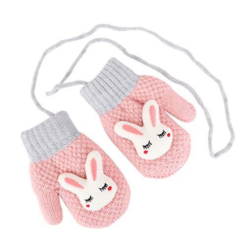 Toddler Kids Winter Warm Thick Full Finger Gloves Children Assorted Color Magic Ski Gloves Mittens (Pink Bear Mittens)