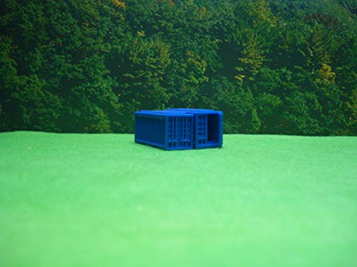New N Scale 20' Blue Shipping Containers Set of 2 (1) Closed (1) Right Open Doors Item 2700