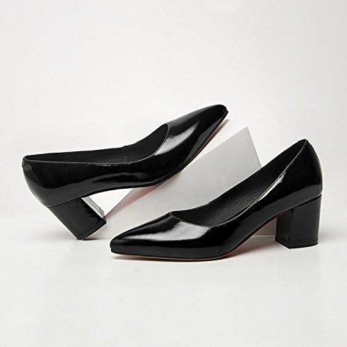 ZHUDJ Die WomenS Shoes_Frauen Schuh Heels Einen Dicken Flachen Mund Forty