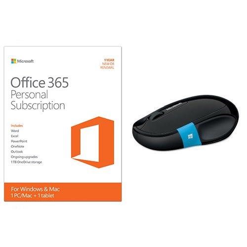 Microsoft Office 365 Personal + Microsoft Sculpt Comfort Bluetooth Mouse Bundle