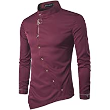 Men's Casual Long Sleeve Oblique Button Down Dress Shirt Tops with Embroidery