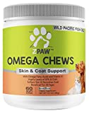 ZPAW Omega 3 Chews for Dogs Skin and Coat Supplements Dog Fatty Acid Treats Natural Omega from Fish Oil Salmon Oil and Krill Oil for Dogs and Cats 60 Treat Soft Chews