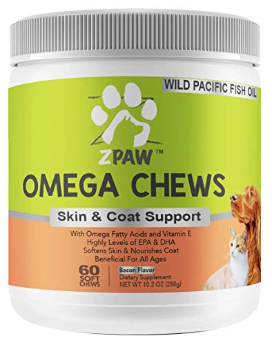 ZPAW Omega 3 Chews for Dogs and Cats | Natural Skin & Coat Supplement with Omega 3 Fatty Acids EPA + DHA Krill Oil Vitamin E for Allergy Control Immune Support and Joint Function - 60 Chewable Treats