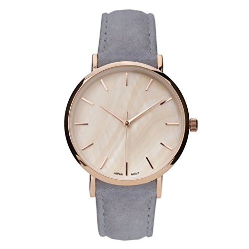 Rosemarie Collections Women's Genuine Leather Mother of Pearl Fashion Watch (Light Grey)