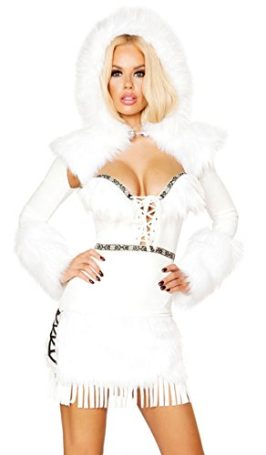 Sexy Arctic Ice Queen Faux Fur and Fringe Lace-Up Mini Dress with Hooded Shrug - White - S